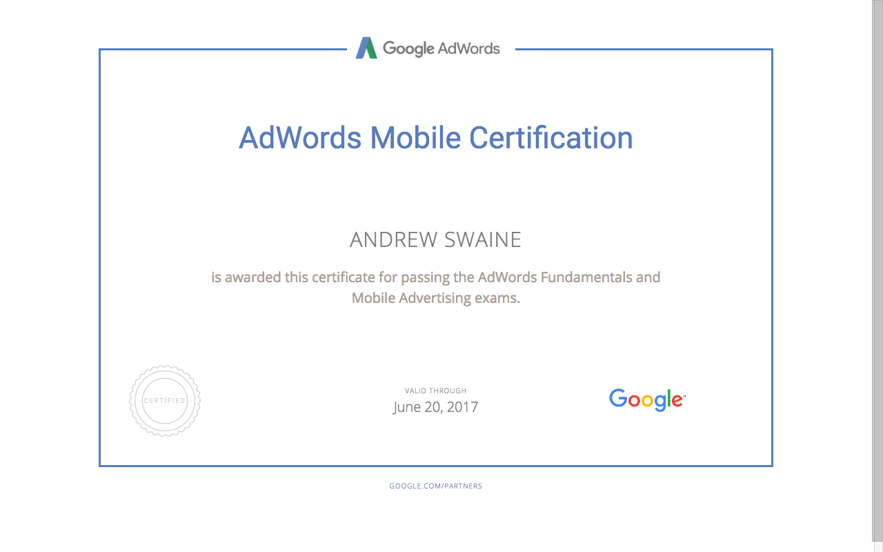ANDREW SWAINE - Adwords Mobile Certification