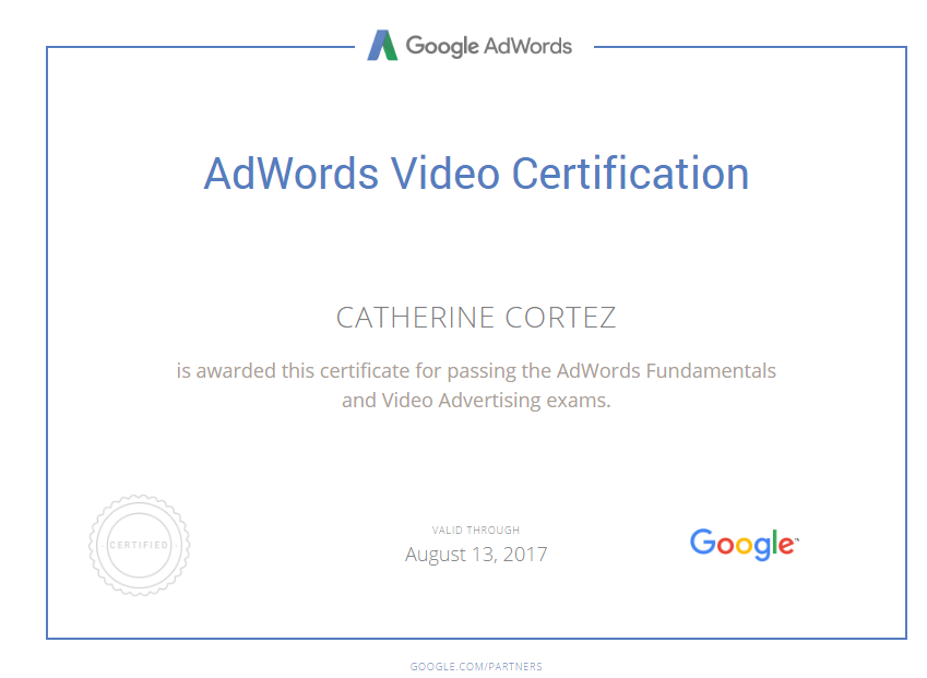CATHERINE CORTEZ - Adwords Video Certification