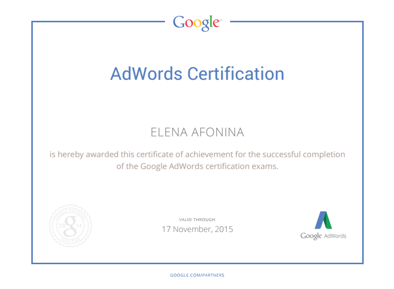 ELENA AFONINA - Adwords Certification