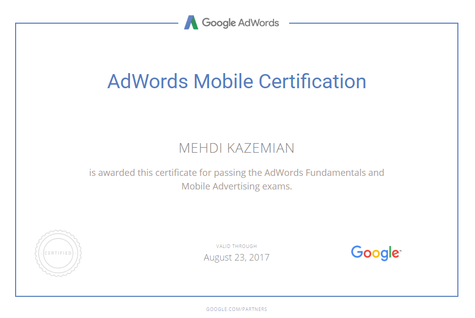 MEHDI KAZEMIAN - ADWORDS MOBILE CERTIFICATION