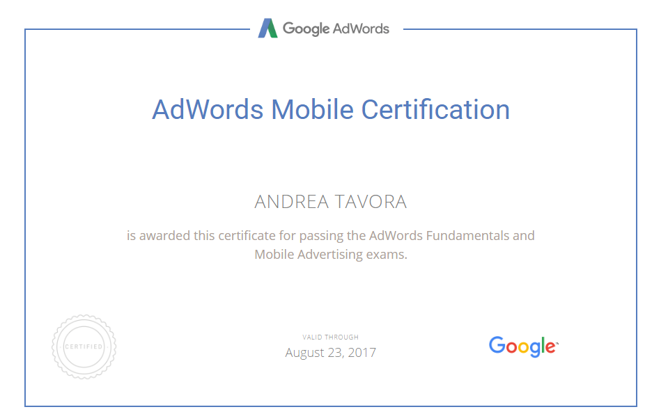 ANDREA TAVORA - Adwords Mobile Certification