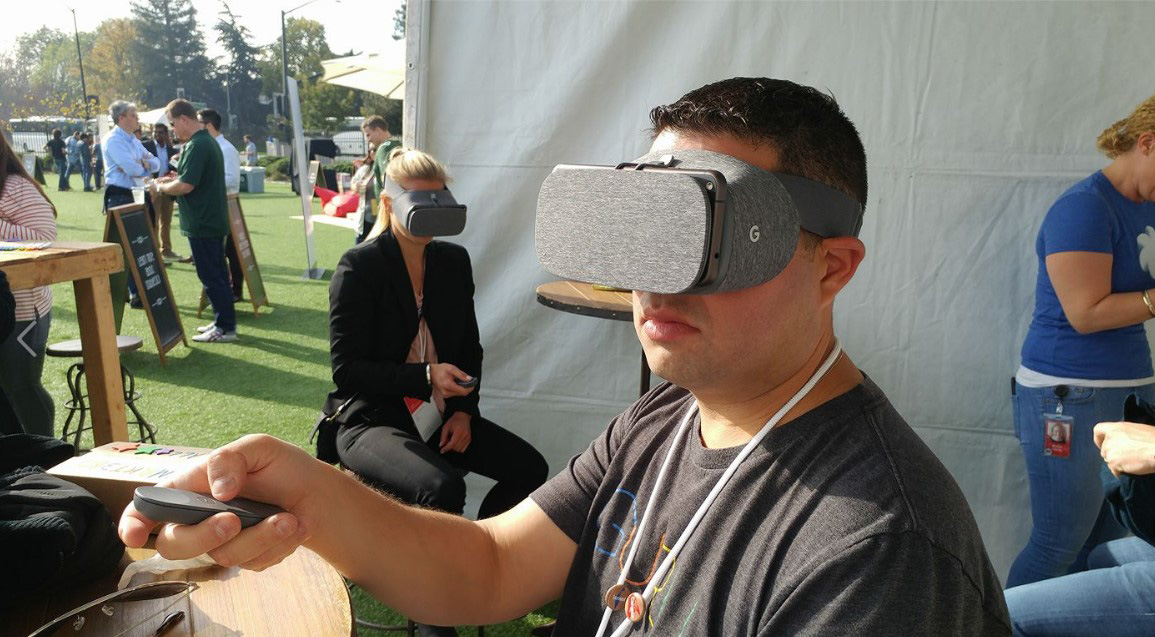 CEO, Eran Hurvitz, testing out Google's newest products